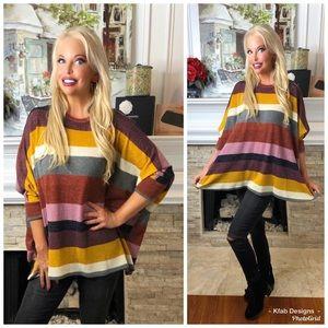❤️LAST 2!   Brushed Fabric Multi Stripe Tunic!
